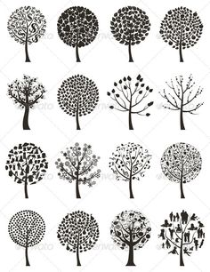 Buy Wood Tree 7 by aleksandr-mansurov-ru on GraphicRiver. Silhouettes of trees on a white background. A vector illustration Doodle Patterns, Zentangle Patterns, Zentangles, Doodle Drawings, Doodle Art, Drawn Art, Wood Tree, Tree Tree, Tree Silhouette