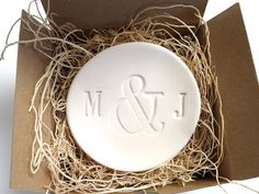 engagement ring dish,  wedding ring holder, You and  Me initial tray, White Matte,  Gift Boxed, Made to Order