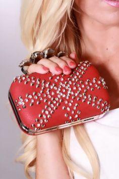 Red Studded Rhinestone Brass Knuckle Handbag