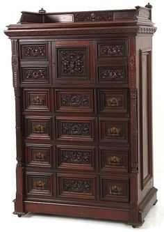 Carved Mahogany Gentleman's Chest.