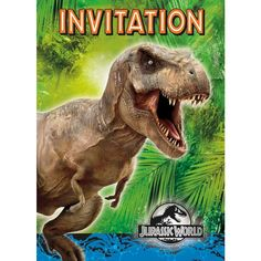 T-Rex party invites for a Jurassic World party bash! - Ideas for Jurassic World Birthday Parties - Holly Day