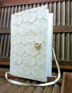Lace Guest book for weddings designed to open by Newleafjournals, $85.00