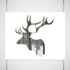 """Holiday Deer Photography / antlers silhouette print art / woodland forest modern minimal snow tree / pick your size photograph/ """"Going Stag"""" op Etsy, 18,45 €"""