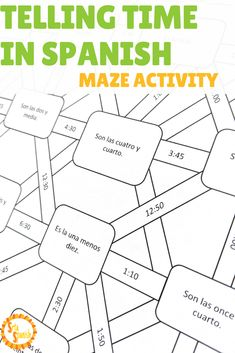 Are you looking for a fun way to practice telling time with your Spanish students? Students tell time with this self-correcting maze activity. Telling Time In Spanish, Learning Spanish For Kids, Spanish Teaching Resources, Spanish Activities, Spanish Language Learning, Listening Activities, Learning Italian, Class Activities, Learning English
