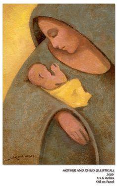"J Kirk Richards, Mother and child (elliptical), 2009, oil on panel, 4""x6"""