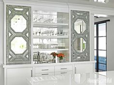 55 Inspiring Ideas to Update Your KitchenBacksplash: Mirrored Mirrors add to the magic in the bar area of a Rye, New York, kitchen designed by Louise Brooks. Home Design, Home Interior Design, Design Ideas, Bar Designs, Design Room, Design Inspiration, Pyrex, Shabby, Apartment Design