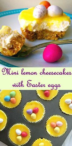 Mini lemon cheesecakes with Easter eggs, a delicious recipe for Easter. Sweet and soft, yet sharp and fresh at the same time, this dessert is sheer indulgence.