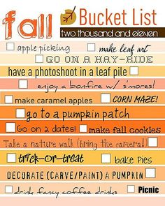 Fall Bucket List. This is perfect.
