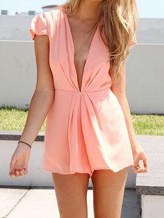 Pink Seductive Deep V Neck Cap-sleeved Playsuits
