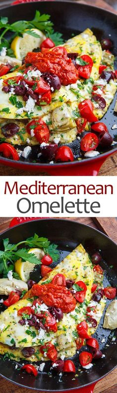 Mediterranean Diet A quick, easy and satisfying omelette they is brimming with tasty Mediterranean inspired flavours! - A quick, easy and satisfying omelette they is brimming with tasty Mediterranean inspired flavours! Mediterranean Omelette Recipe, Mediterranean Breakfast, Mediterranean Diet Recipes, Mediterranean Dishes, Vegetarian Recipes, Cooking Recipes, Healthy Recipes, Fennel Recipes, Vegetarian Food