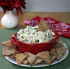 Healthy Spinach Artichoke Dip  An easy, low calorie makeover in the slow cooker or oven/dcc