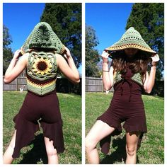 Sunflower mandala hooded shrug tie front vest