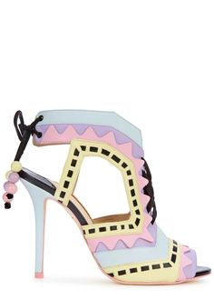 Sophia Webster multicoloured pastel leather sandals Heel measures approximately 4 inches/ 100mm Appliquéd, cut-out sides, lace-up suede front, open toe Bead-embellished tie at ankle Come with a dust bag