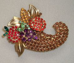 Vintage Rhinestone Thanksgiving Harvest Cornucopia Pin/Brooch