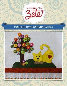 Projeto Pano de Prato Gatinha Sapeca | Ateliê da Zete | Elo7