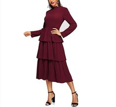 mamamoo Tiered Layer Ruffle Mock-Neck Solid Dress Elegant Fit and Flare High Waist Dresses