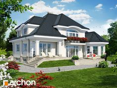 White Bungalow Style House, Bungalow Homes, Cottage Style Homes, 2 Storey House Design, Duplex House Design, House Front Design, Model House Plan, Dream House Plans, Modern Bungalow Exterior