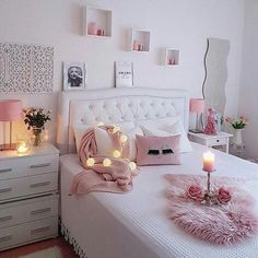 43 cute and girly bedroom decorating tips for girl 8 Girl Bedroom Designs Bedroom Cute Decorating Girl Girly tips Bedroom Decor For Teen Girls, Cute Bedroom Ideas, Cute Room Decor, Girl Bedroom Designs, Teen Girl Bedrooms, Trendy Bedroom, Cozy Bedroom, Bedroom Romantic, White Bedroom