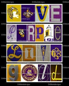 2381494212268 LSU Tigers Alphabet Photo Art