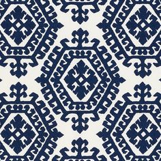 Omar Embroidery | 71941 in Navy | Schumacher Fabrics |  With repeating graphic medallions, this allover embroidery has a visual strength that doesn't overpower because it is softened by the art of the hand.