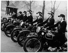 """Despatch Riders -- The first Wren motorcyclists entered service in 1939, attached to the Intelligence Department. The Wrens worked long hours, and undertook journeys that were often tedious and hazardous. Missions could also be dangerous, such as collecting bombs or cases of live ammunition for delivery to London for subsequent evaluation. Trips through London involved avoiding parked vehicles as well as obstructions from bomb damage..."" More at link, including images and personal…"