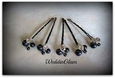 Bridesmaid gift Navy blue wedding  Bridal Hair  by WeddinGlam, $20.00