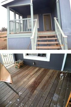 Easy front porch patio idea DIY. If you are looking for ideas how to make your front porch look good check out this before and after how to make over front porch on a budget inspiration. Patio Table, Diy Patio, Diy Outdoor Furniture, Outdoor Sofa, Front Porch Remodel, Greenhouse Shed, Gravel Patio, Interiors Magazine, Solar String Lights