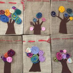 These cute bags are created in handwork lessons! The jute bag … - beutel Diy And Crafts, Crafts For Kids, Arts And Crafts, Deco Nature, Textiles, Jute Bags, Collaborative Art, Hand Art, Art Plastique