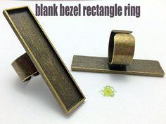 10x50mm rectangle bague bague de réglage base-blanc par AZFINDINGS