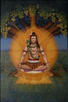 Lord shiva as adiyogi in creative art painting Lord Shiva Pics, Lord Shiva Hd Images, Shiva Lord Wallpapers, Lord Shiva Family, Shiva Art, Hindu Art, Shiva Shambo, Shiva Statue, Tantra