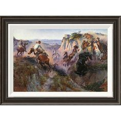 Global Gallery 'The Wild Horse Hunters' by Charles M. Russell Framed Painting Print Size: