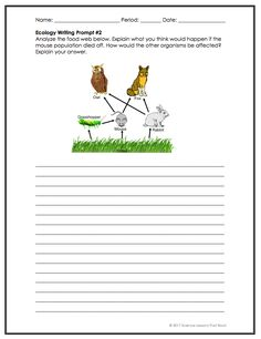Ecology writing prompts - Kids education and learning acts Biology Classroom, Biology Teacher, Teaching Biology, Science Biology, Science Education, Life Science, Ap Biology, Physical Science, Earth Science