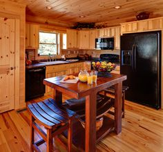 Blowing Rock Kitchen by Blue Ridge Log Cabins #logcabins #kitchen #cabinkitchen #loghomes