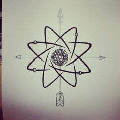 Tattoo design for my best friend. She decided not to go with the compass part but it's still super cool! #tattoodesign #tattoo #atom #science