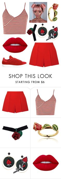 """""""Roses are Red"""" by zoemlucas ❤ liked on Polyvore featuring Alice + Olivia, Topshop, Disney, Lime Crime and adidas"""