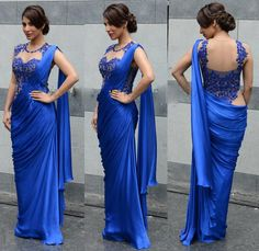 Sophie Choudry Blue Chiffon Bollywood Party Wear Saree 36751