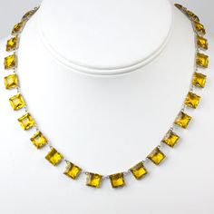 Art Deco Vintage Jewelry - Citrine & Sterling Art Deco Chicklet Necklace