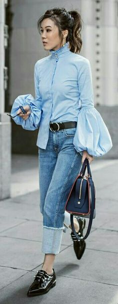 denim / jeans / bell sleeves / pointy flats