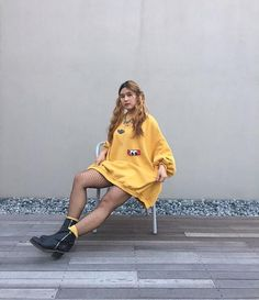 Oversized Sweater Dress with Fleece  in Fall Color on www.yeseoul.com
