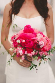 fuchsia wedding bouquet - photo by Wildflowers Photography http://ruffledblog.com/modern-smogshoppe-wedding-with-fuchsia-accents #weddingbouquet #flowers #bouquets