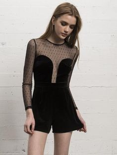 The Rock The Night Playsuit from WYLDR features mesh sleeves and neck with a velvet bodice for an alluring winter-style romper. Low Cut Dresses, Black Tights, Black Velvet, Bohemian Style, Dress To Impress, Boho Fashion, Feminine, Rompers, Romper