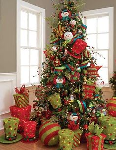 another tree with lime green and red