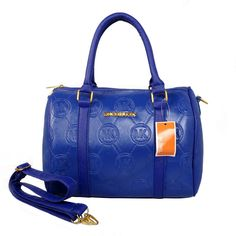 Michael Kors Logo Print Medium Blue Satchels Outlet