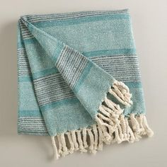 --Throw for living room couch.  One of my favorite discoveries at WorldMarket.com: Aqua Monochrome Throw