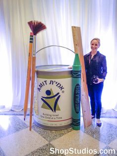 We created a set of three giant paint cans for a public relations event. Excellent photo-op props, better than a silly old step and repeat! Kids Church Rooms, Maker Fun Factory Vbs, Art Room Posters, Art Classroom Management, School Displays, Studio Organization, Vacation Bible School, School Decorations, Art Party