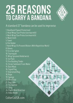 25 Reasons to carry a bandana, every day. Excellent thought starter on everyday bandana uses. The humble bandana is a classic piece of outdoor gear for a good reason. It is incredibly versatile! It's an essential item for camping, hiking, survival kits, f Wilderness Survival, Camping Survival, Outdoor Survival, Survival Prepping, Survival Skills, Survival Gear, Outdoor Gear, Survival Supplies, Doomsday Survival