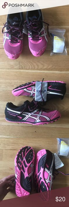 Asics track spikes size 6.5 Brand new. With tags and spikes in a baggie. Size 6.5. pink black and white track spikes Asics Shoes Sneakers