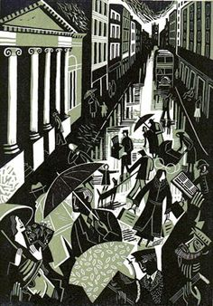 'Living' by British artist Clare Curtis. Linocut, 260 x 190 mm. via Gallery 9 Op Art, Parasols, Umbrellas, Collagraph, Linoprint, Draw On Photos, Wood Engraving, Linocut Prints, Woodblock Print