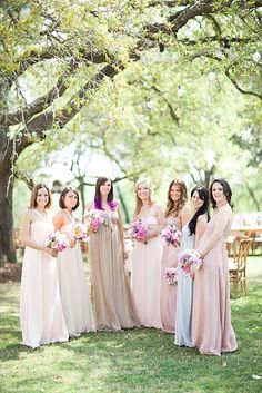 soft bridesmaids dresses.