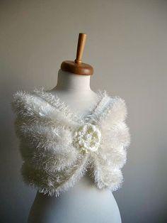 ON SALE Bridal  Shawl Ivory color  Furry etole Ready by crochetlab, $49.30